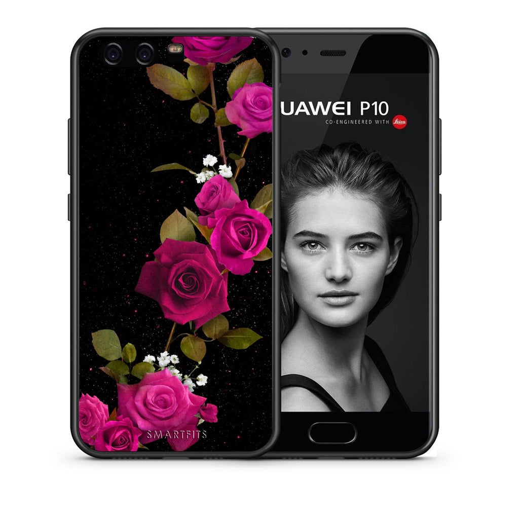 4 - huawei p10 Red Roses Flower case, cover, bumper