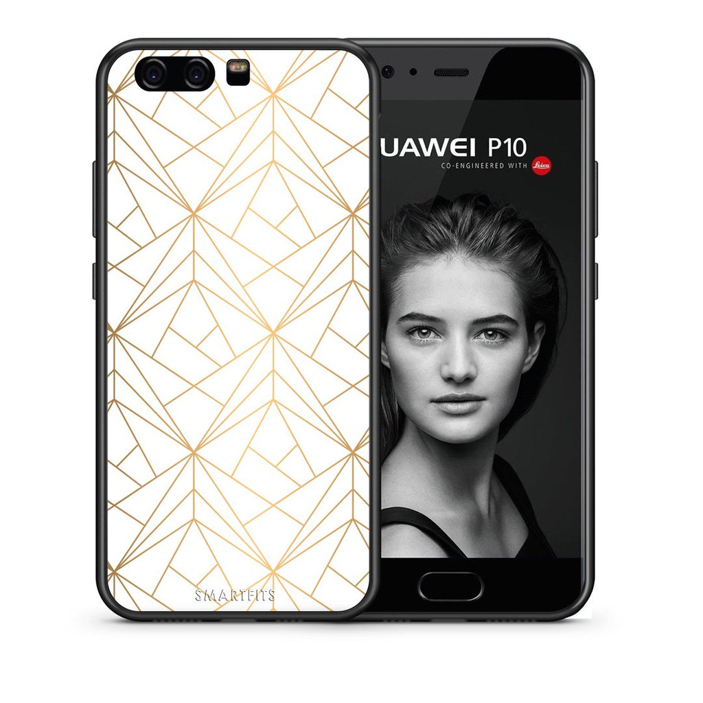 111 - huawei p10 Luxury White Geometric case, cover, bumper