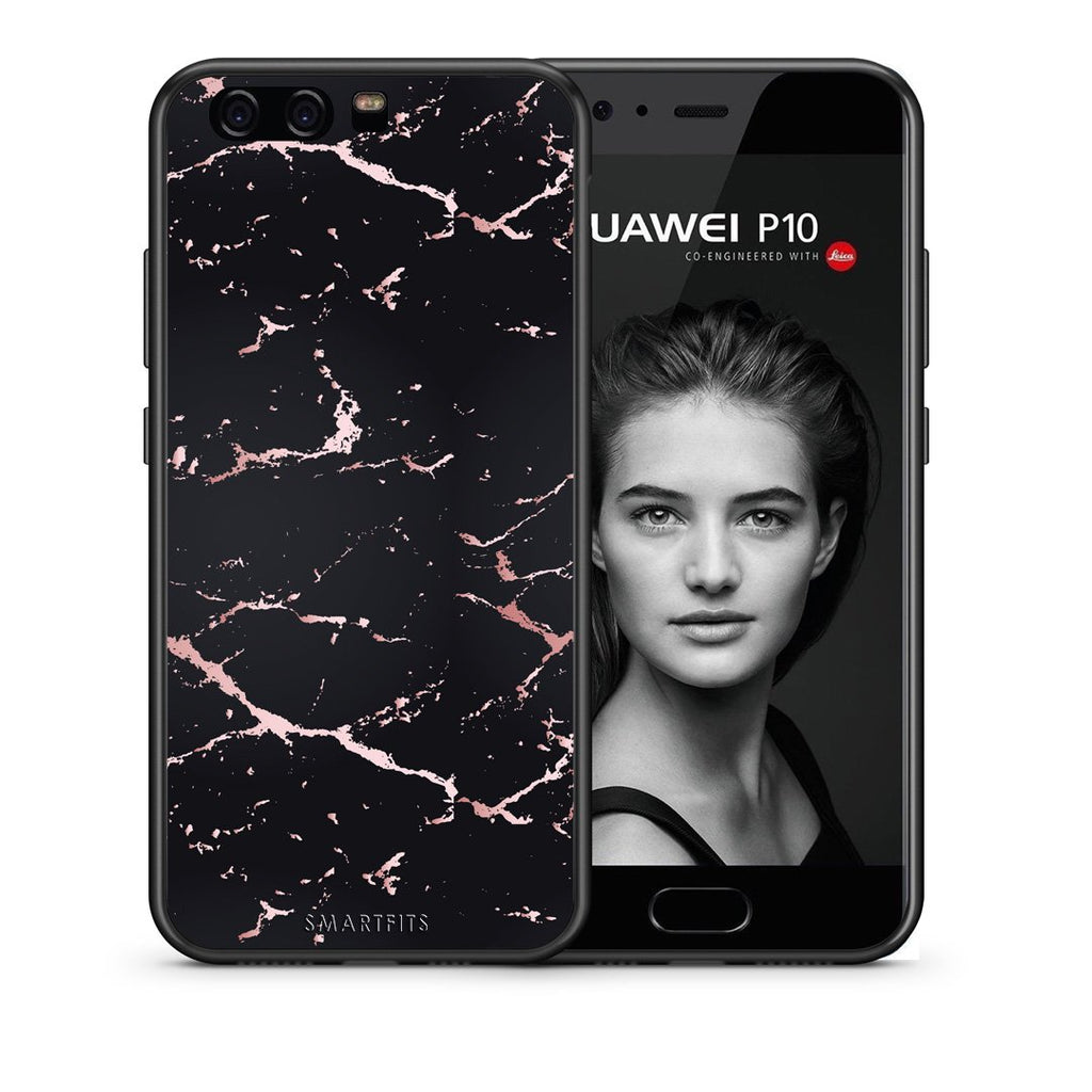 4 - huawei p10 Black Rosegold Marble case, cover, bumper