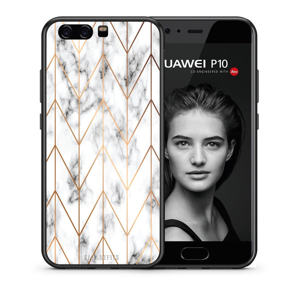 44 - huawei p10 Gold Geometric Marble case, cover, bumper