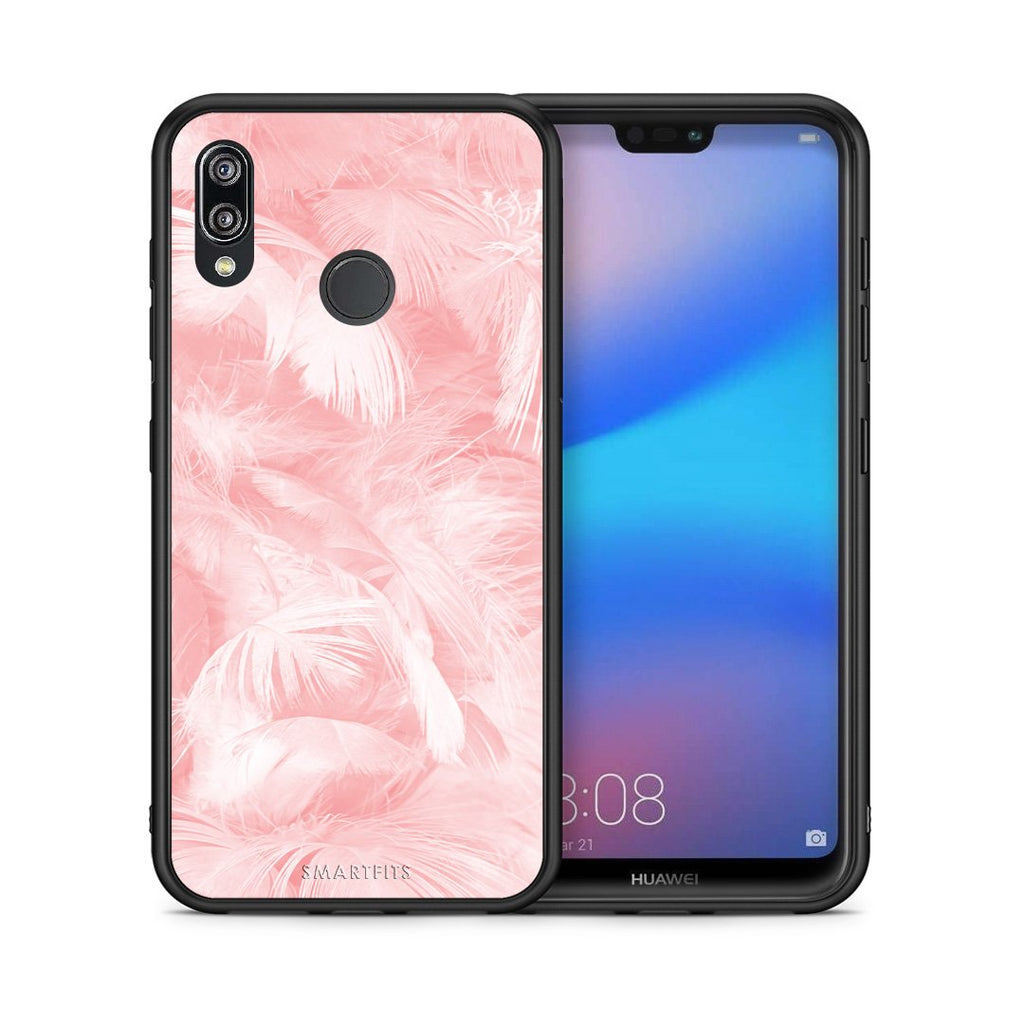 33 - Huawei P20 Lite Pink Feather Boho case, cover, bumper