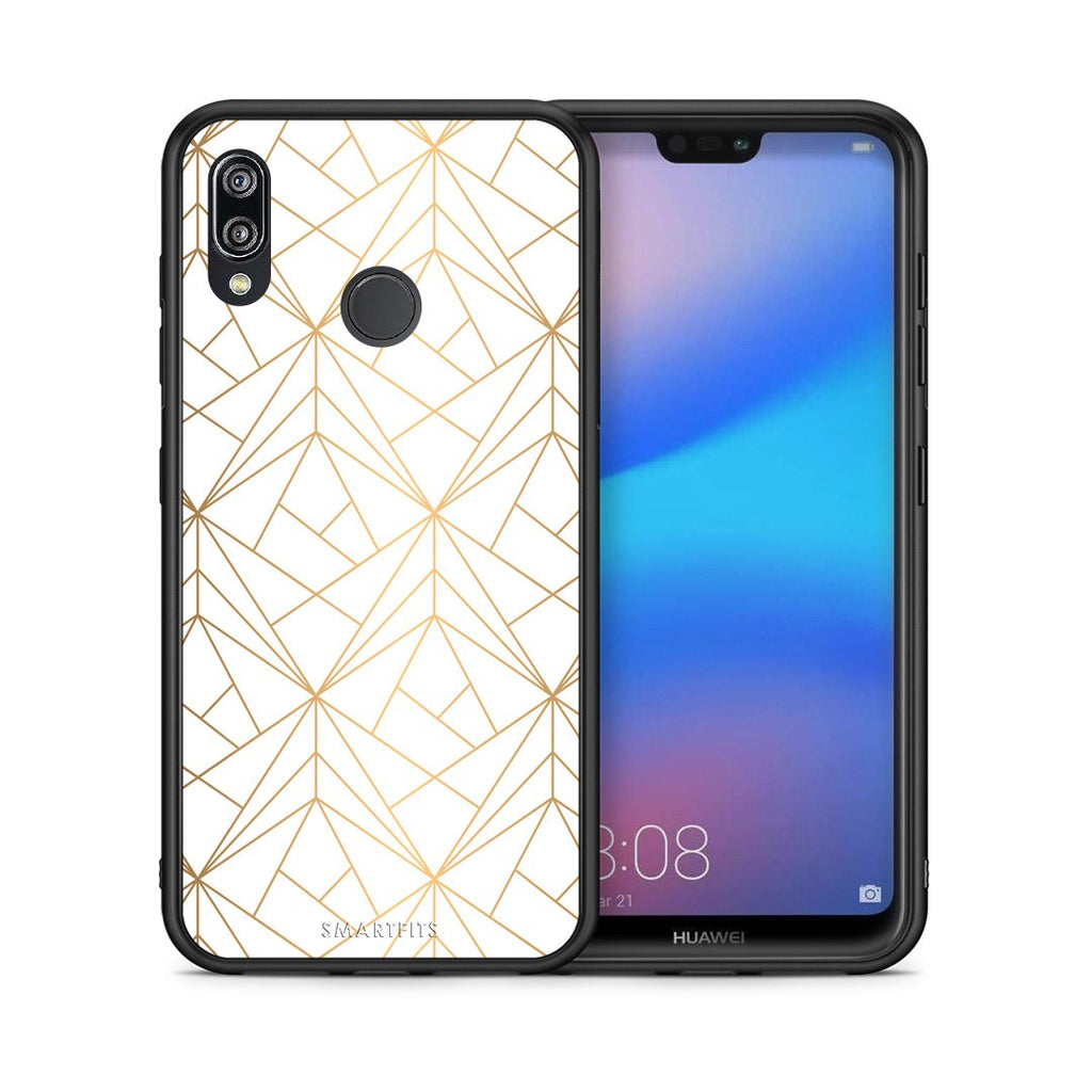 111 - Huawei P20 Lite Luxury White Geometric case, cover, bumper