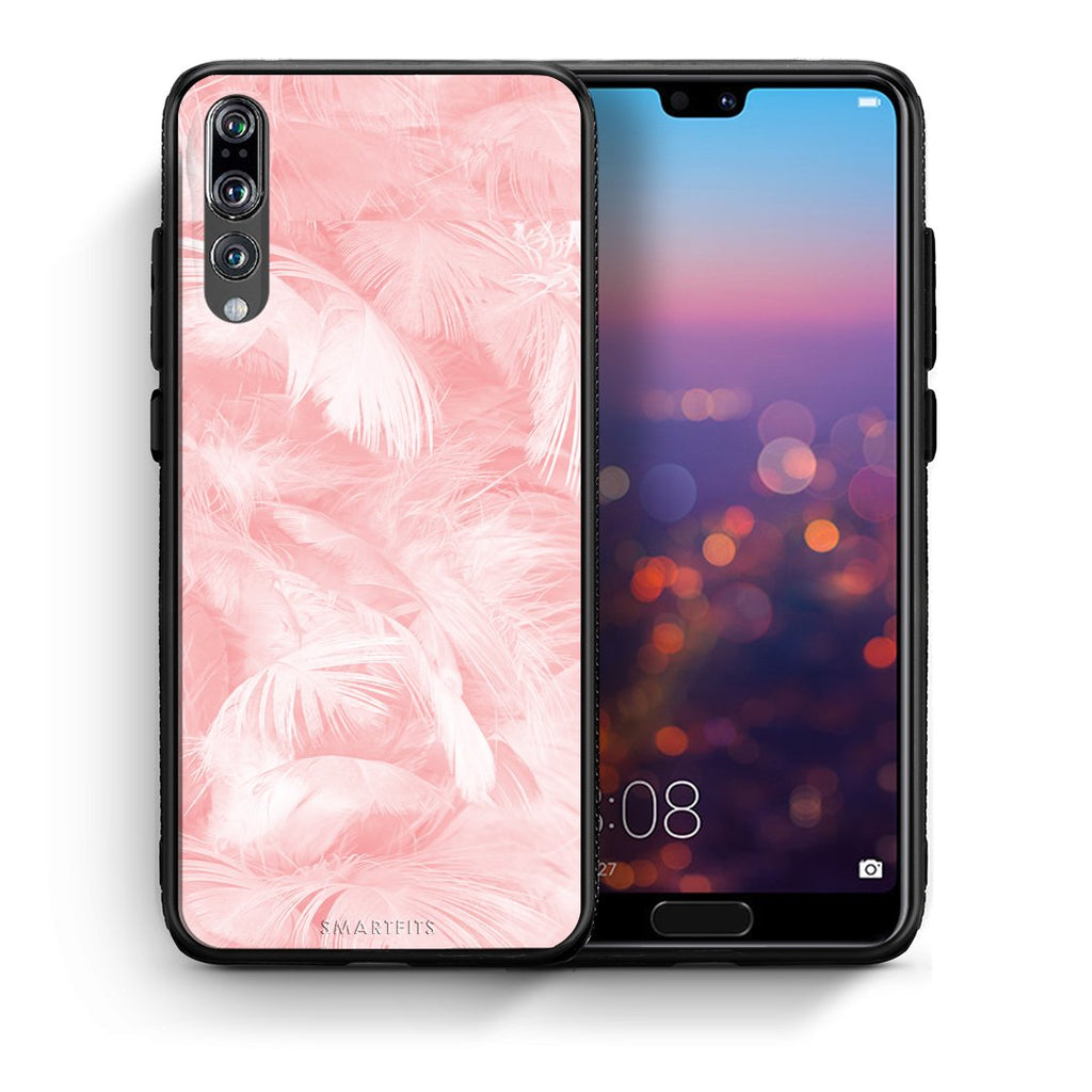 33 - huawei p20 pro Pink Feather Boho case, cover, bumper
