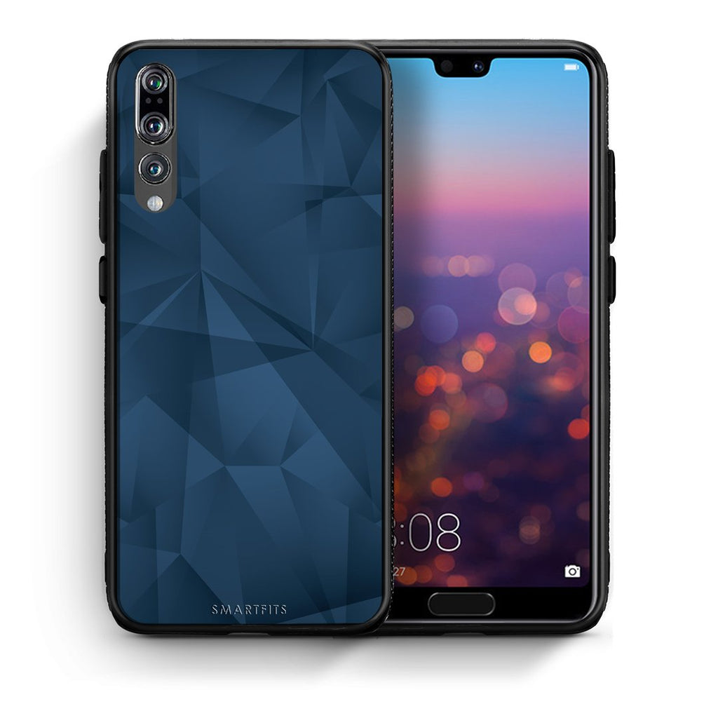 39 - huawei p20 pro Blue Abstract Geometric case, cover, bumper
