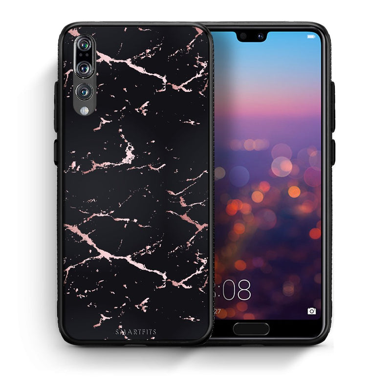 4 - huawei p20 pro Black Rosegold Marble case, cover, bumper