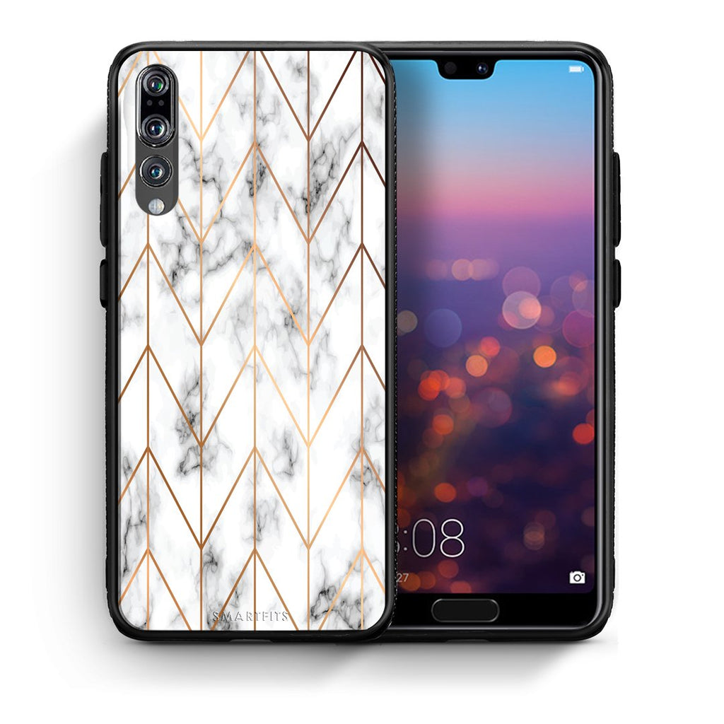 44 - huawei p20 pro Gold Geometric Marble case, cover, bumper