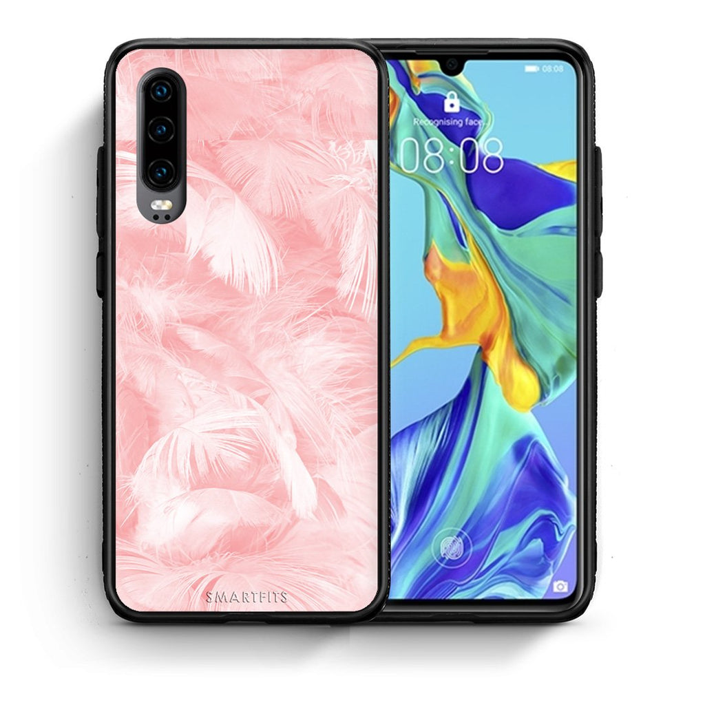 33 - Huawei P30  Pink Feather Boho case, cover, bumper