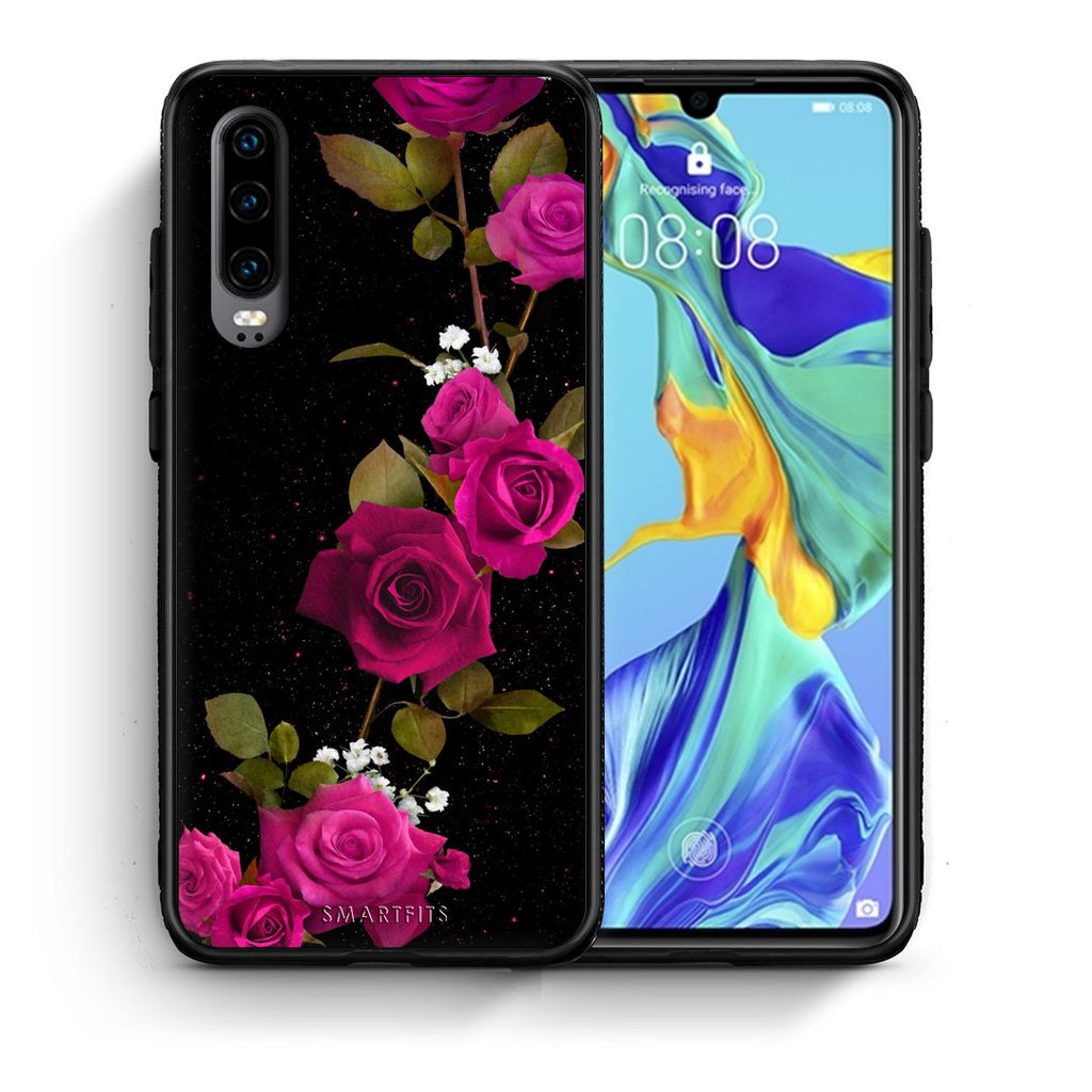 4 - Huawei P30 Red Roses Flower case, cover, bumper