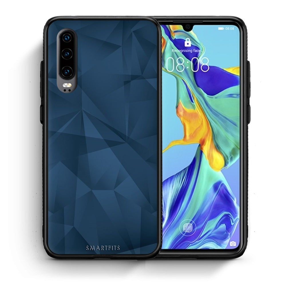 39 - Huawei P30  Blue Abstract Geometric case, cover, bumper