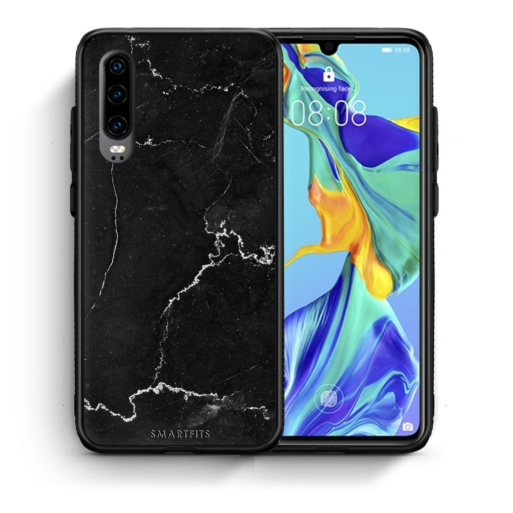 1 - Huawei P30  black marble case, cover, bumper