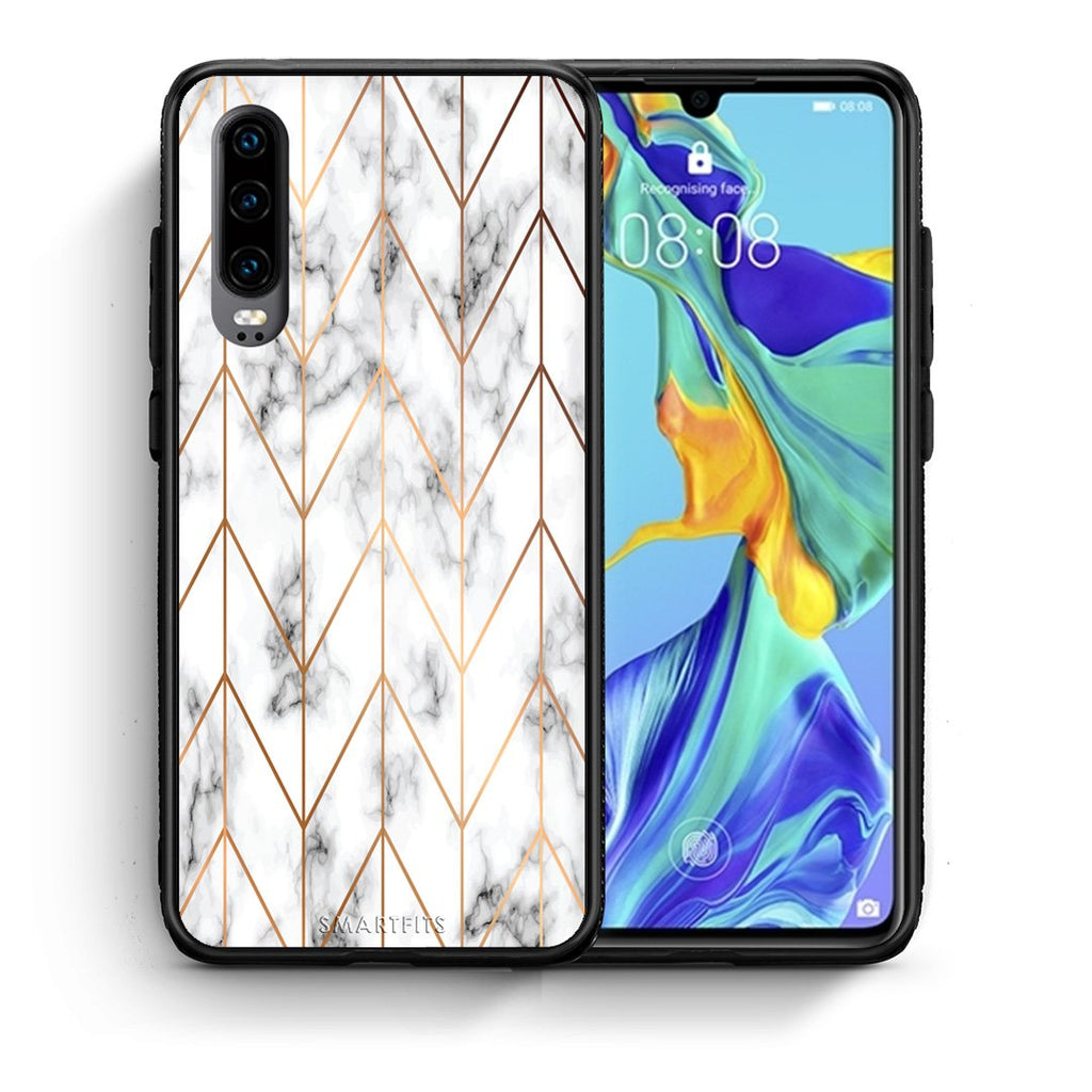 44 - Huawei P30  Gold Geometric Marble case, cover, bumper