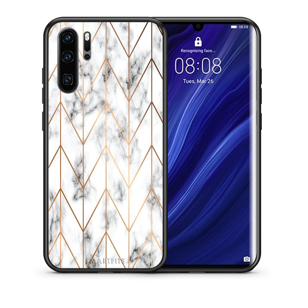 44 - Huawei P30 Pro  Gold Geometric Marble case, cover, bumper