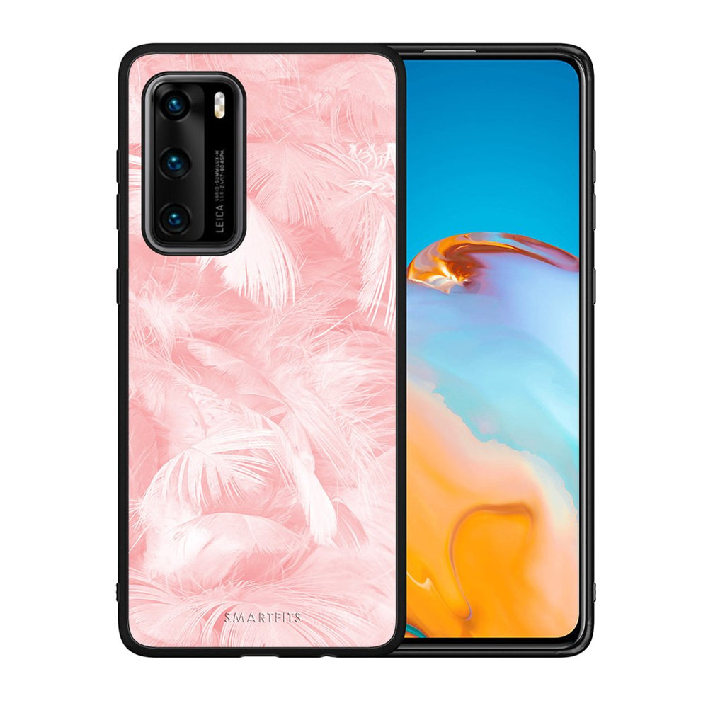 33 - Huawei P40  Pink Feather Boho case, cover, bumper