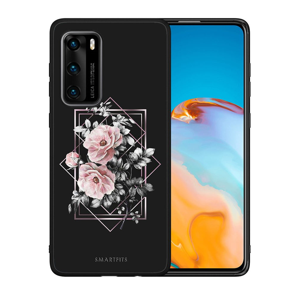 4 - Huawei P40 Frame Flower case, cover, bumper