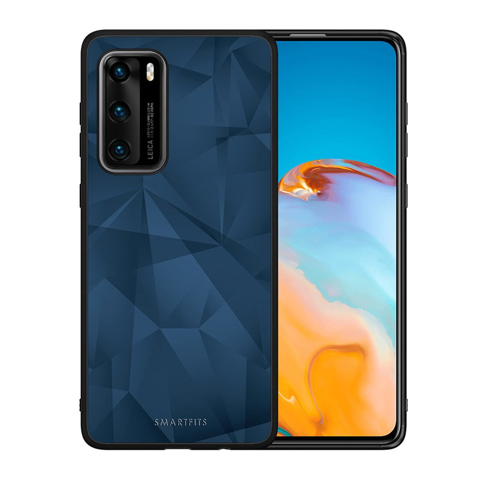 39 - Huawei P40  Blue Abstract Geometric case, cover, bumper