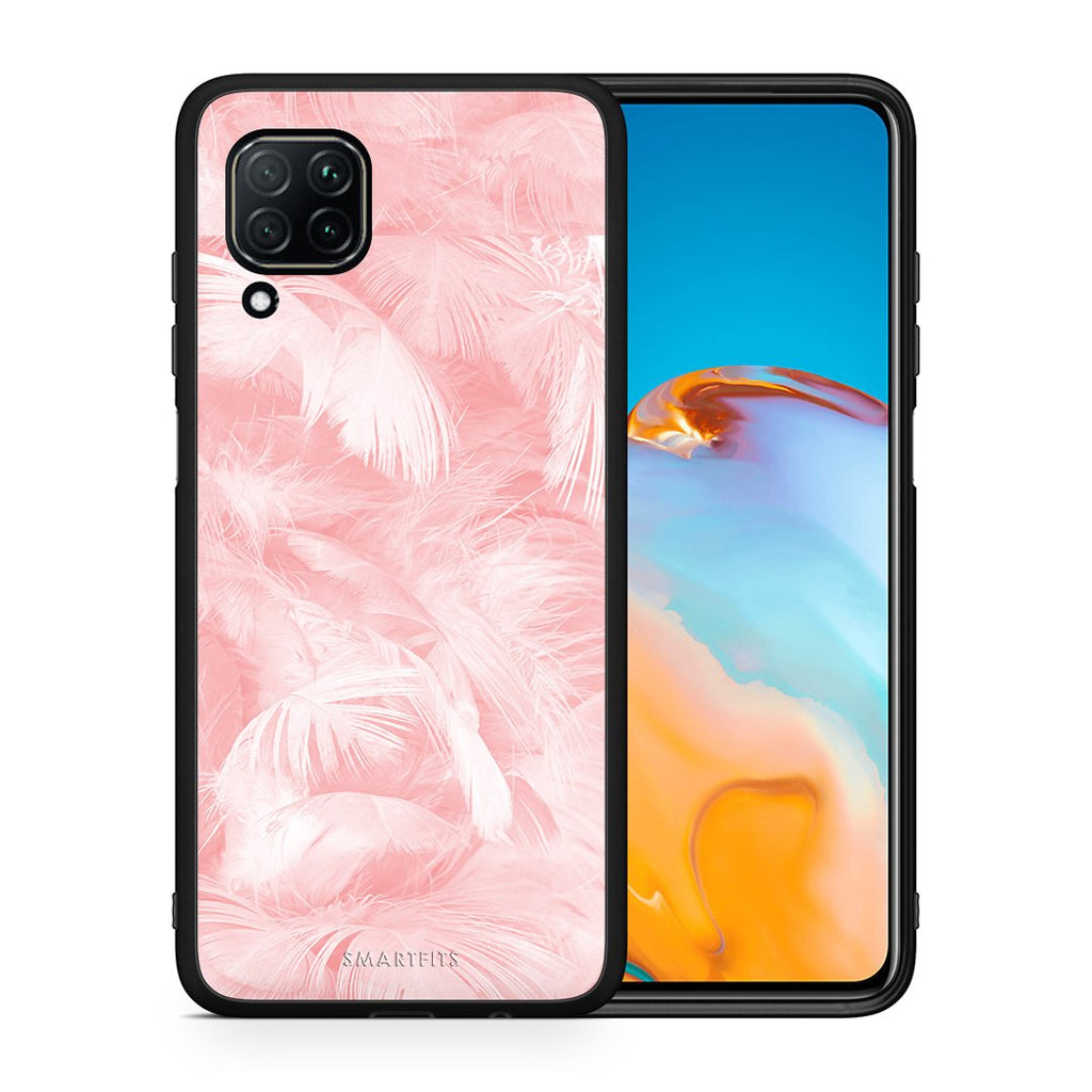 33 - Huawei P40 Lite  Pink Feather Boho case, cover, bumper