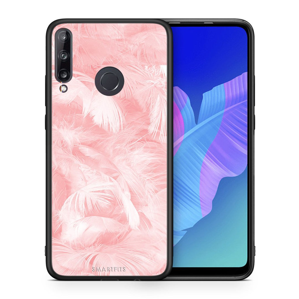 33 - Huawei P40 Lite E  Pink Feather Boho case, cover, bumper