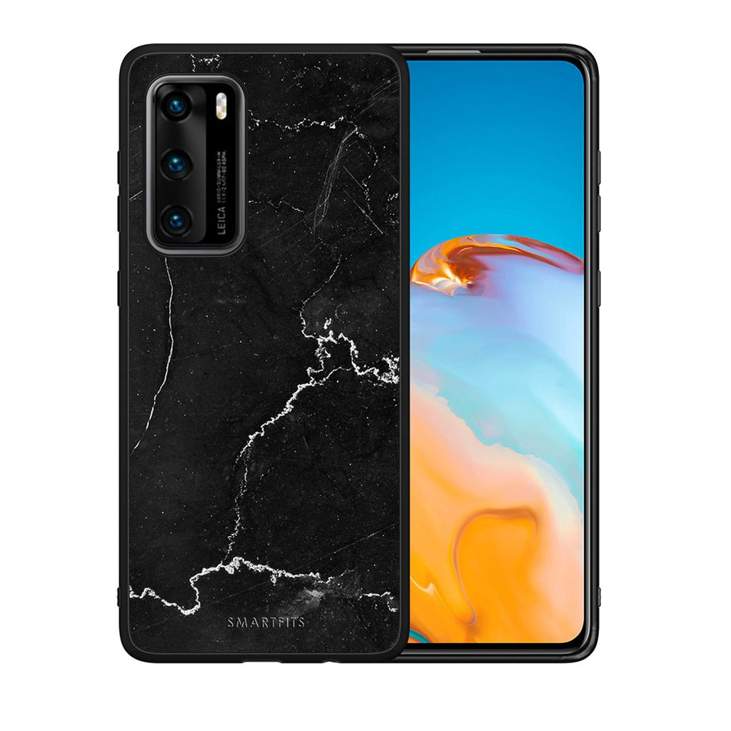 1 - Huawei P40  black marble case, cover, bumper