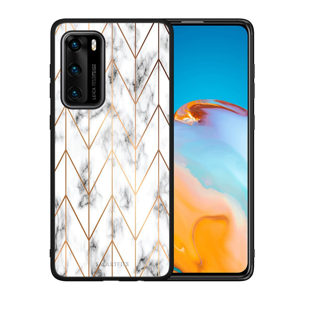 44 - Huawei P40  Gold Geometric Marble case, cover, bumper