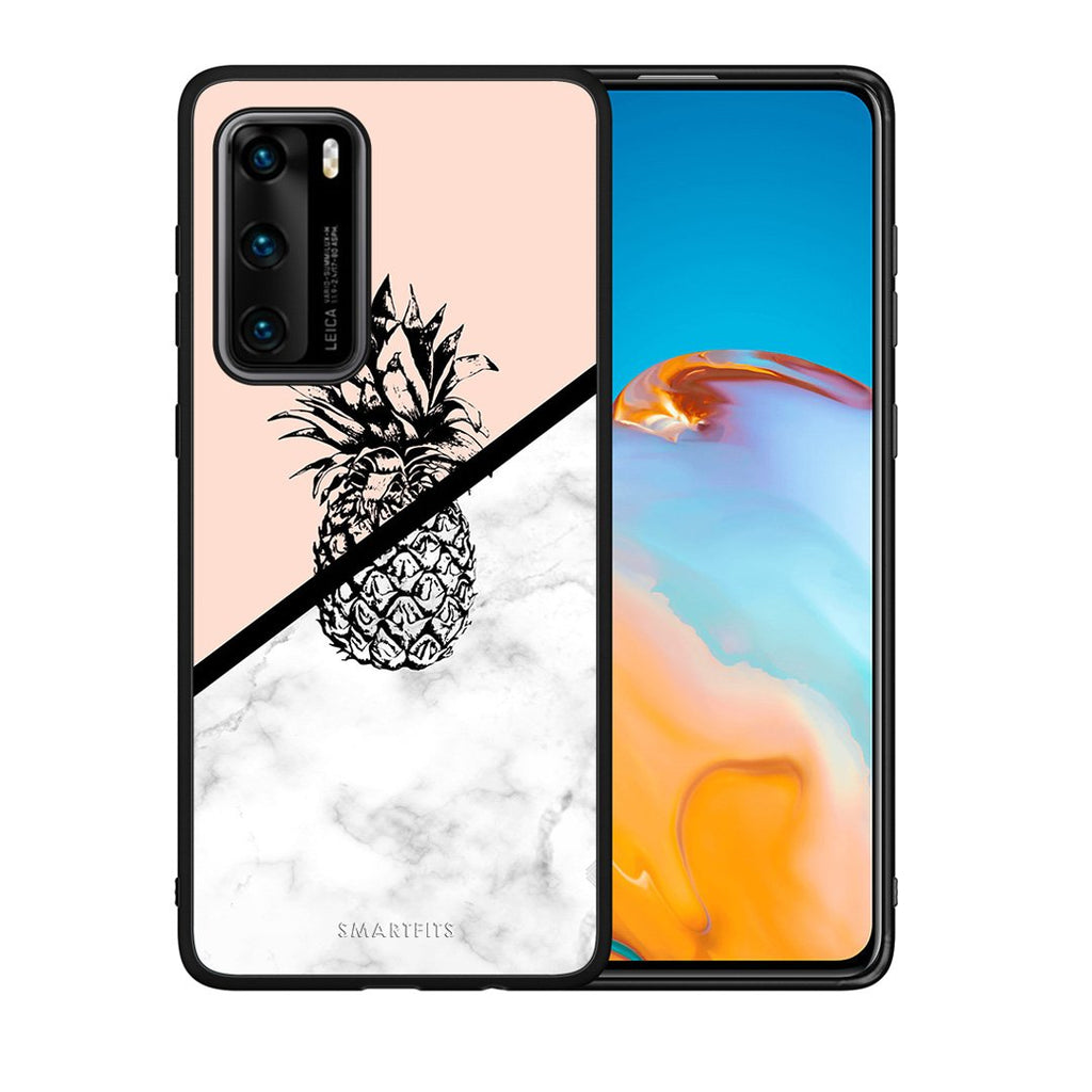4 - Huawei P40 Pineapple Marble case, cover, bumper
