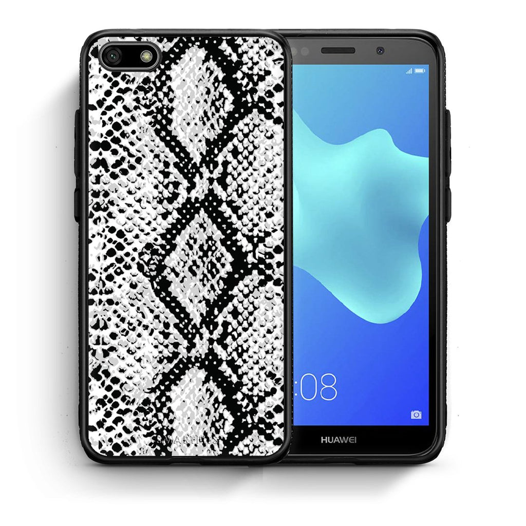 24 - Huawei Y5 2018 White Snake Animal case, cover, bumper