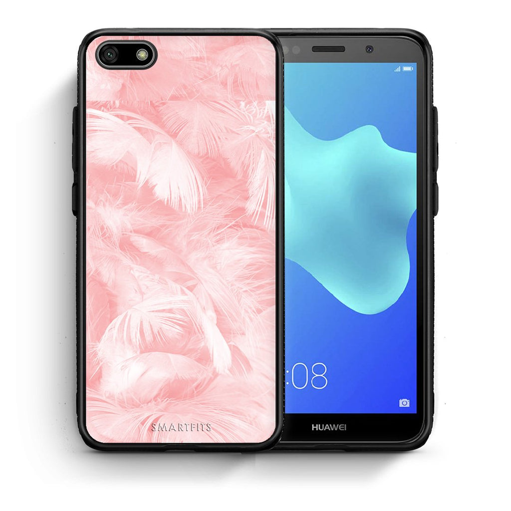 33 - Huawei Y5 2018 Pink Feather Boho case, cover, bumper