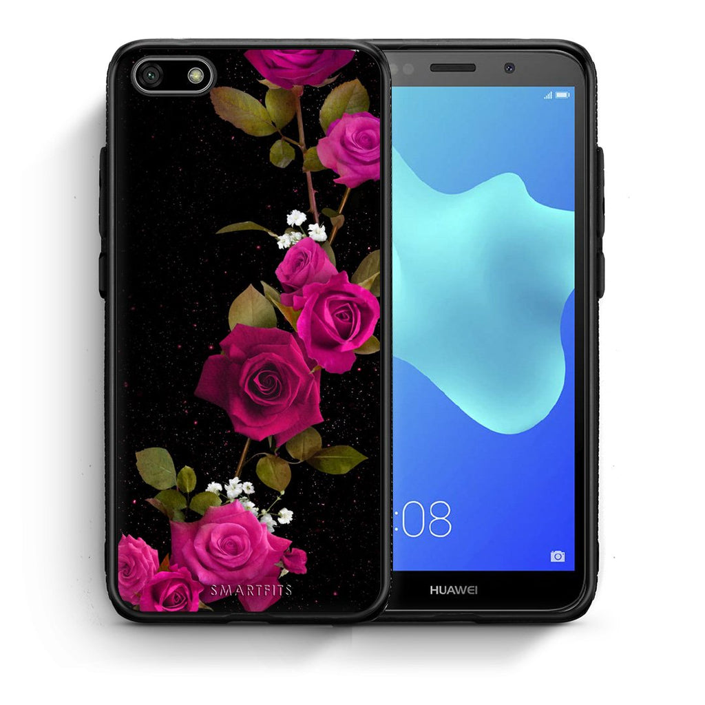 4 - Huawei Y5 2018 Red Roses Flower case, cover, bumper