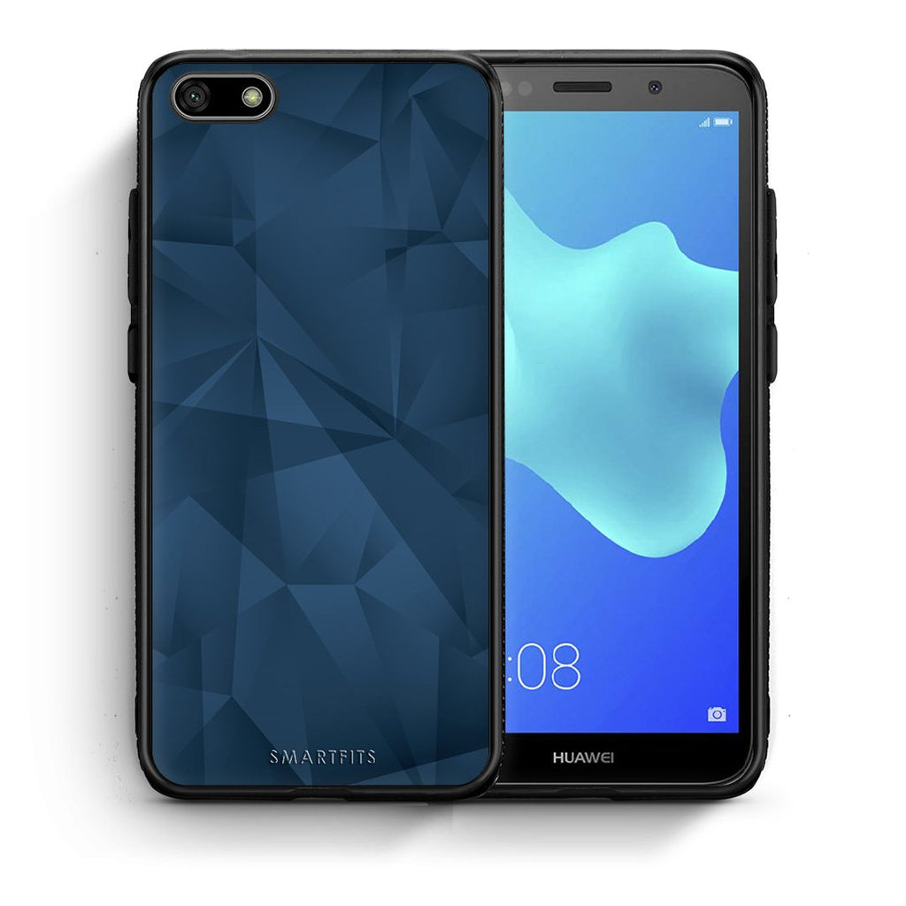 39 - Huawei Y5 2018 Blue Abstract Geometric case, cover, bumper