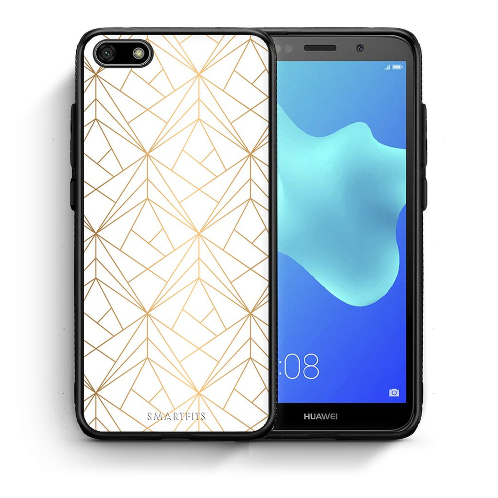 111 - Huawei Y5 2018 Luxury White Geometric case, cover, bumper