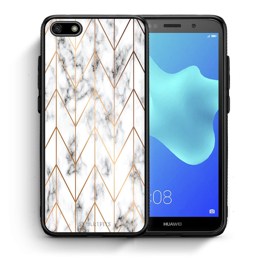 44 - Huawei Y5 2018 Gold Geometric Marble case, cover, bumper
