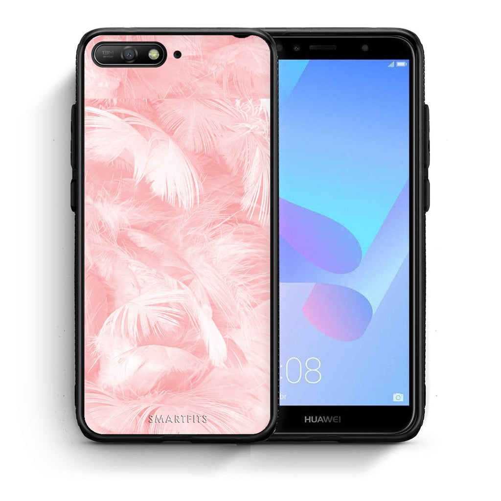 33 - Huawei Y6 2018 Pink Feather Boho case, cover, bumper