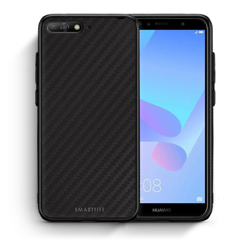0 - Huawei Y6 2018 Black Carbon case, cover, bumper