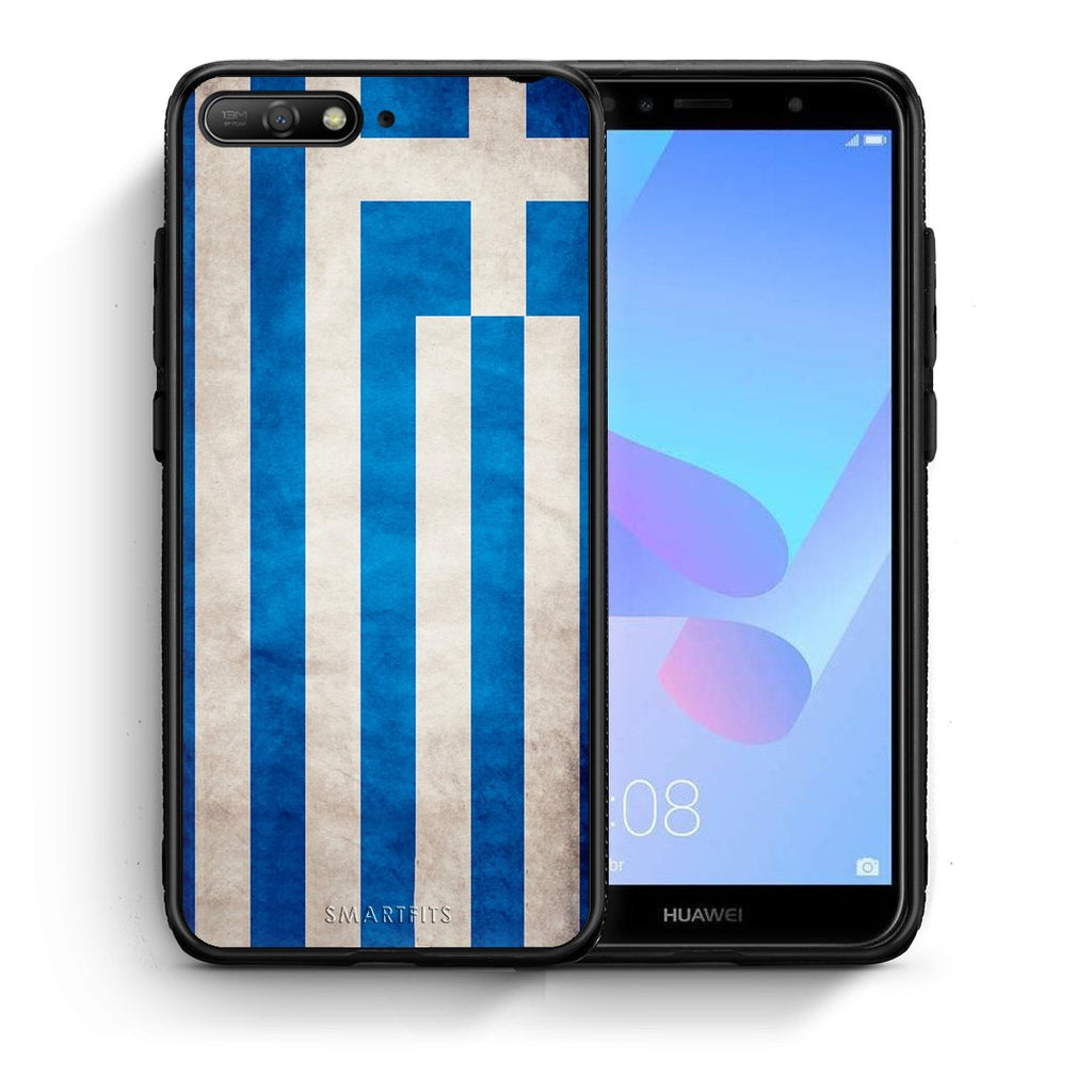 4 - Huawei Y6 2018 Greece Flag case, cover, bumper