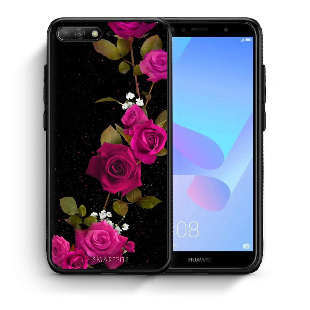 4 - Huawei Y6 2018 Red Roses Flower case, cover, bumper