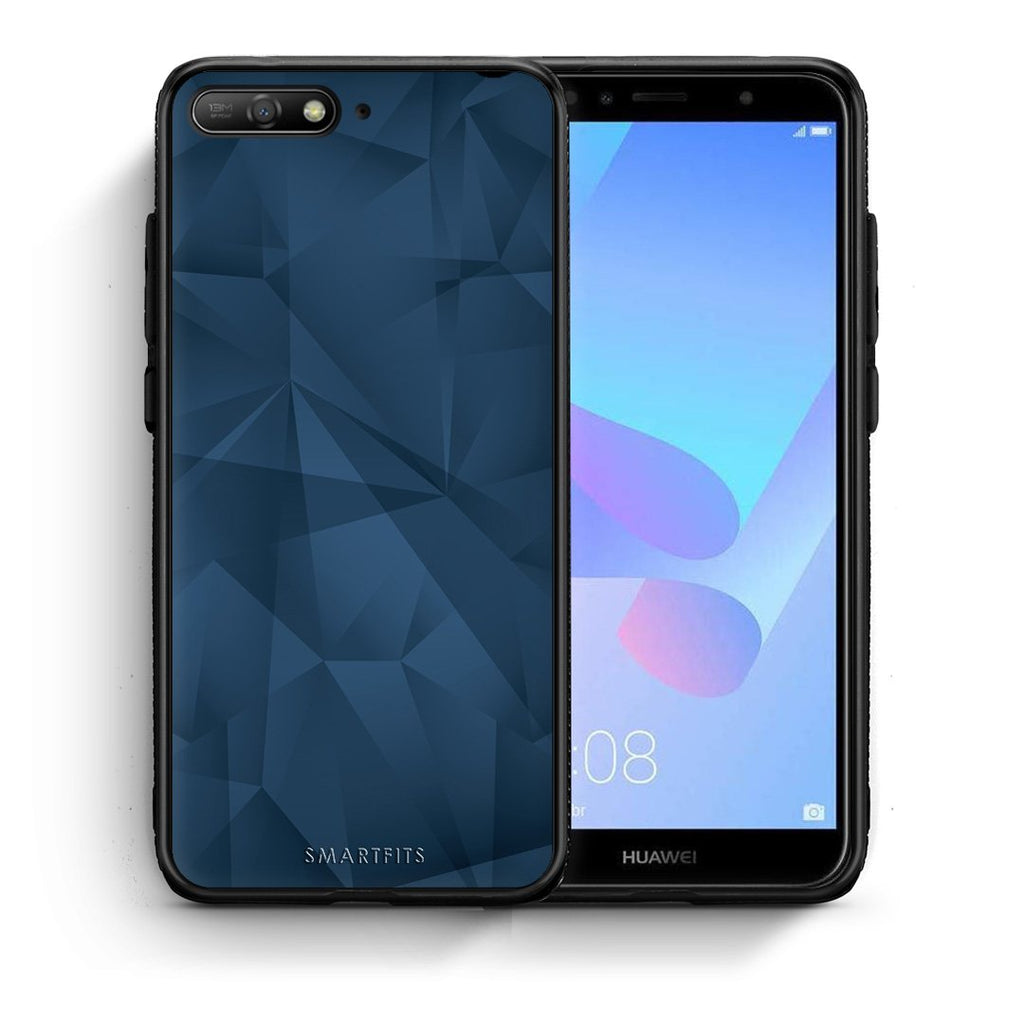 39 - Huawei Y6 2018 Blue Abstract Geometric case, cover, bumper