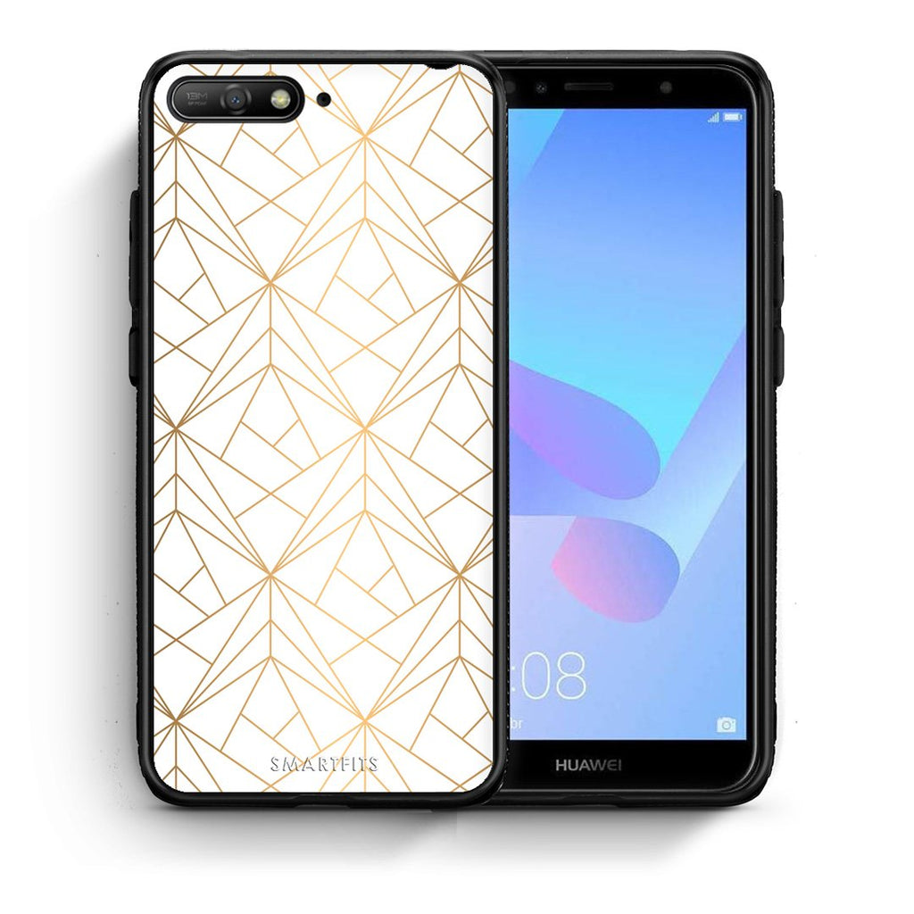 111 - Huawei Y6 2018 Luxury White Geometric case, cover, bumper
