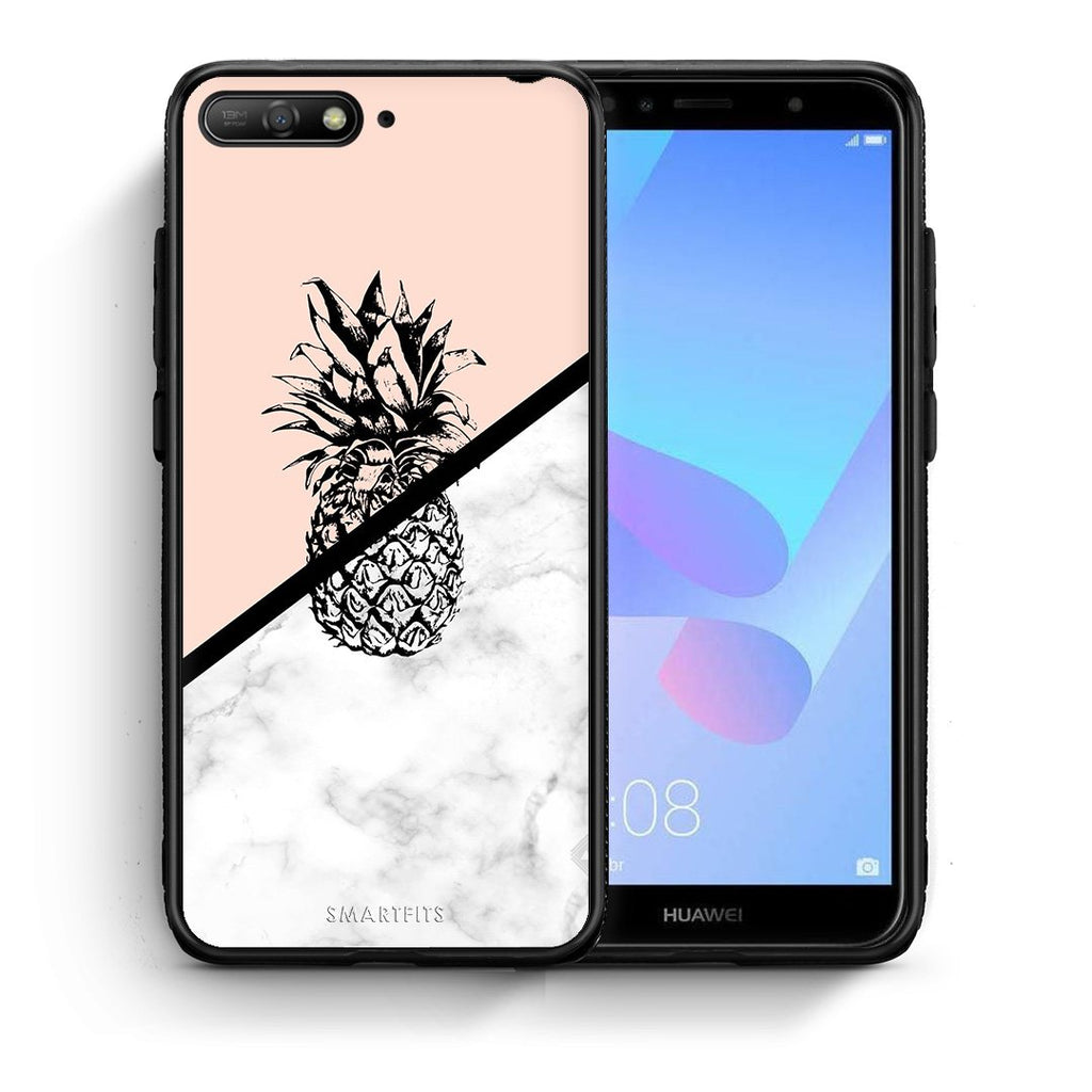 4 - Huawei Y6 2018 Pineapple Marble case, cover, bumper