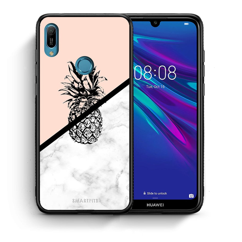 4 - Huawei Y6 2019 Pineapple Marble case, cover, bumper