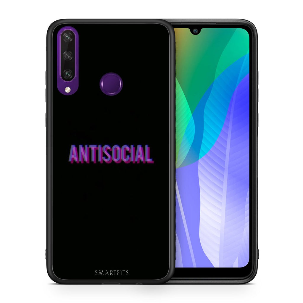 Θήκη Huawei Y6p Antisocial Person από τη Smartfits με σχέδιο στο πίσω μέρος και μαύρο περίβλημα | Huawei Y6p Antisocial Person case with colorful back and black bezels