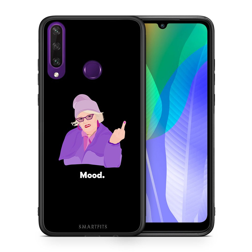 Θήκη Huawei Y6p Grandma Mood Black από τη Smartfits με σχέδιο στο πίσω μέρος και μαύρο περίβλημα | Huawei Y6p Grandma Mood Black case with colorful back and black bezels
