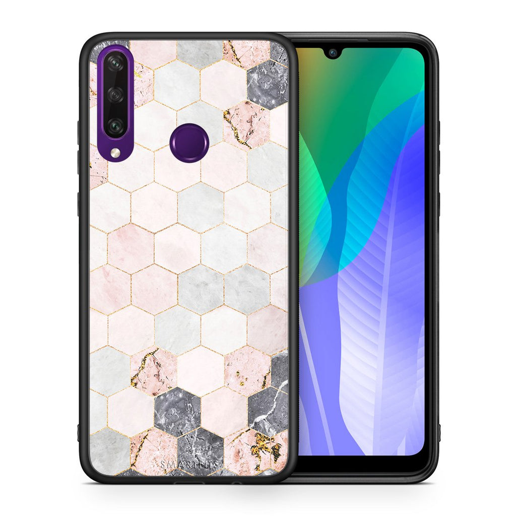 Θήκη Huawei Y6p Hexagon Pink Marble από τη Smartfits με σχέδιο στο πίσω μέρος και μαύρο περίβλημα | Huawei Y6p Hexagon Pink Marble case with colorful back and black bezels