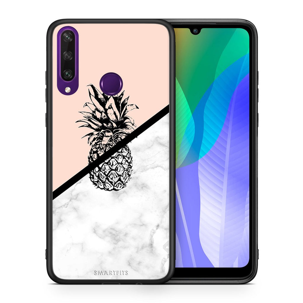 4 - Huawei Y6p Pineapple Marble case, cover, bumper