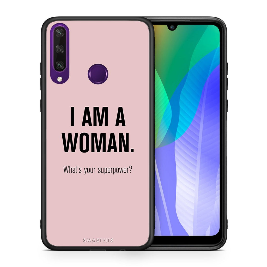 Θήκη Huawei Y6p Superpower Woman από τη Smartfits με σχέδιο στο πίσω μέρος και μαύρο περίβλημα | Huawei Y6p Superpower Woman case with colorful back and black bezels