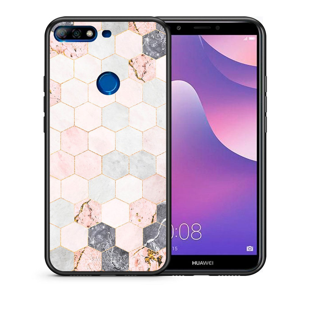Θήκη Huawei Y7 2018 Hexagon Pink Marble από τη Smartfits με σχέδιο στο πίσω μέρος και μαύρο περίβλημα | Huawei Y7 2018 Hexagon Pink Marble case with colorful back and black bezels