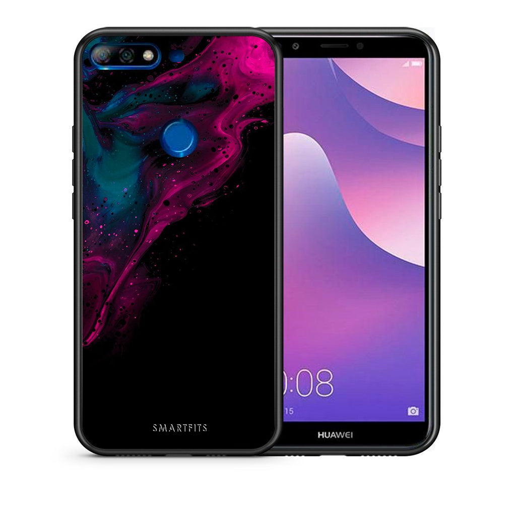 Θήκη Huawei Y7 2018 Pink Black Watercolor από τη Smartfits με σχέδιο στο πίσω μέρος και μαύρο περίβλημα | Huawei Y7 2018 Pink Black Watercolor case with colorful back and black bezels