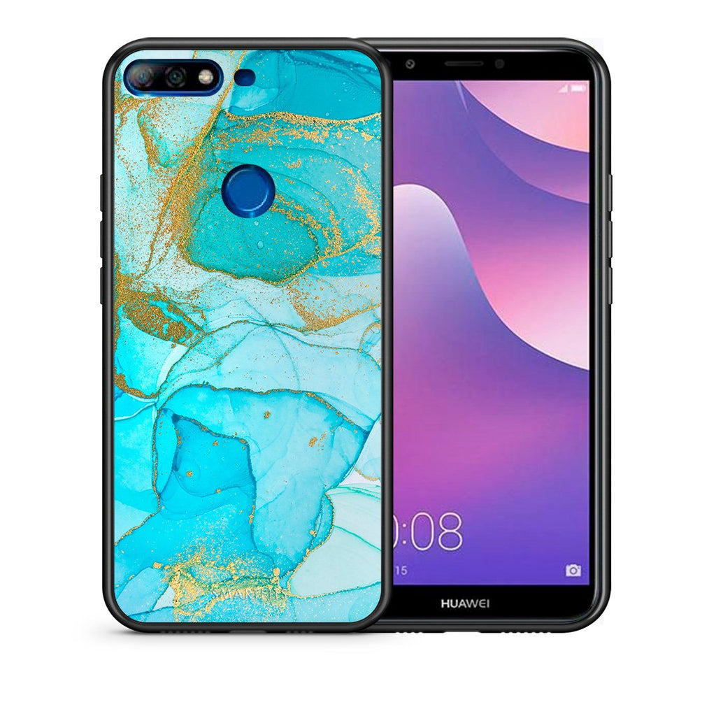 Θήκη Huawei Y7 2018 Turquoise Gold Watercolor από τη Smartfits με σχέδιο στο πίσω μέρος και μαύρο περίβλημα | Huawei Y7 2018 Turquoise Gold Watercolor case with colorful back and black bezels