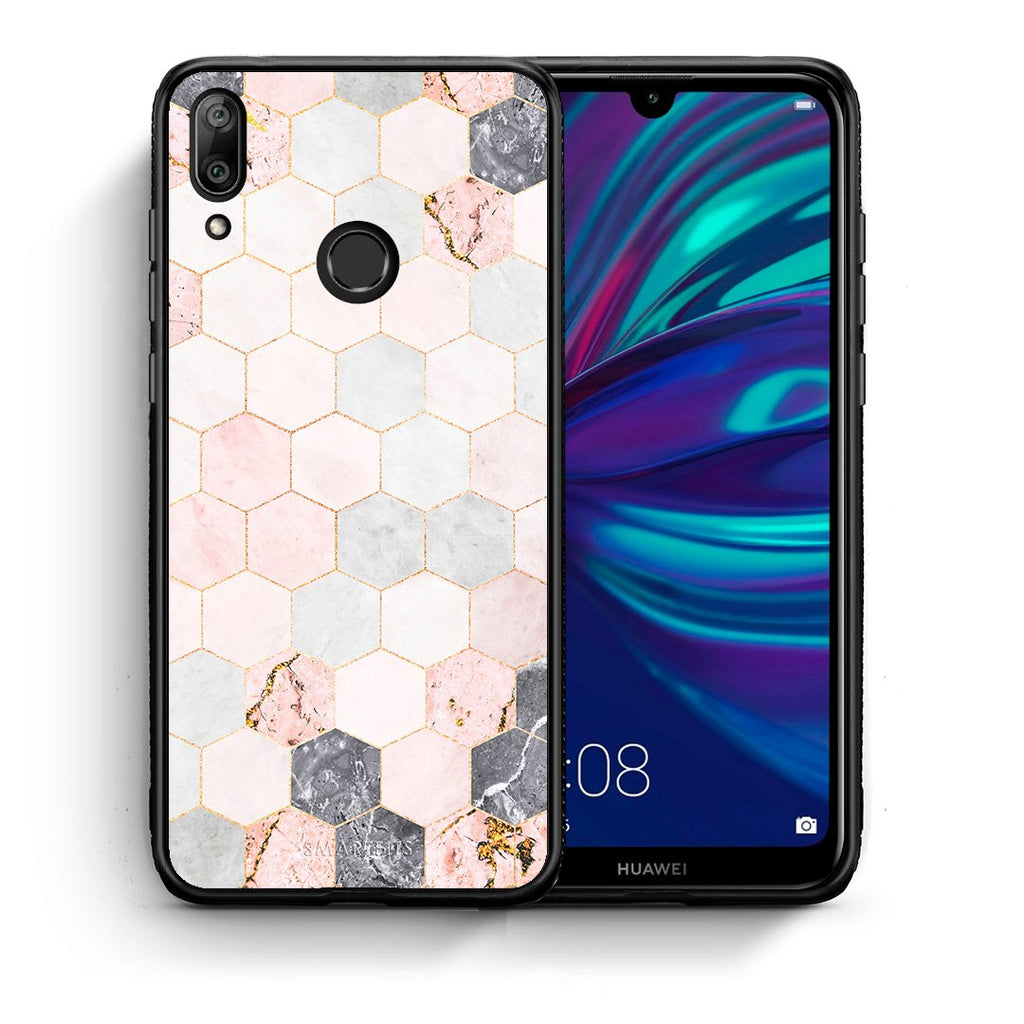 Θήκη Huawei Y7 2019 Hexagon Pink Marble από τη Smartfits με σχέδιο στο πίσω μέρος και μαύρο περίβλημα | Huawei Y7 2019 Hexagon Pink Marble case with colorful back and black bezels