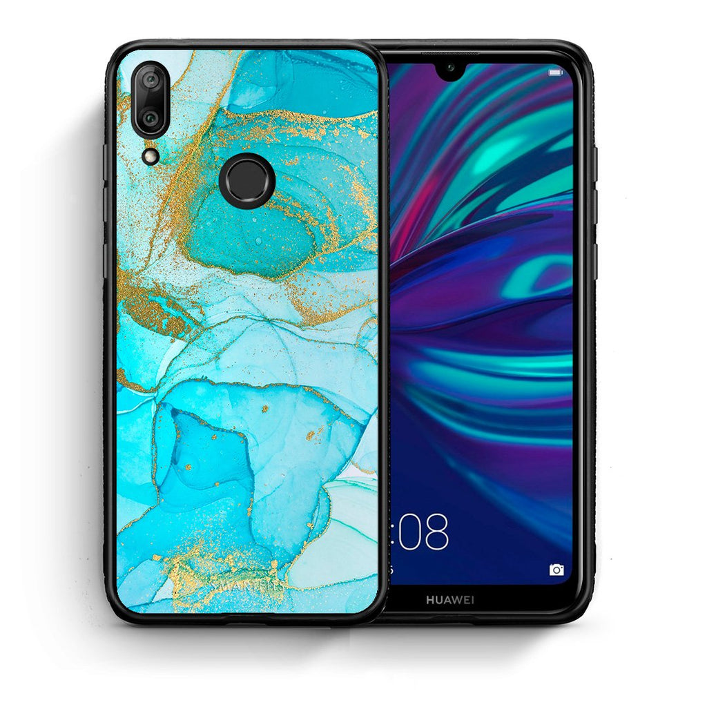 Θήκη Huawei Y7 2019 Turquoise Gold Watercolor από τη Smartfits με σχέδιο στο πίσω μέρος και μαύρο περίβλημα | Huawei Y7 2019 Turquoise Gold Watercolor case with colorful back and black bezels