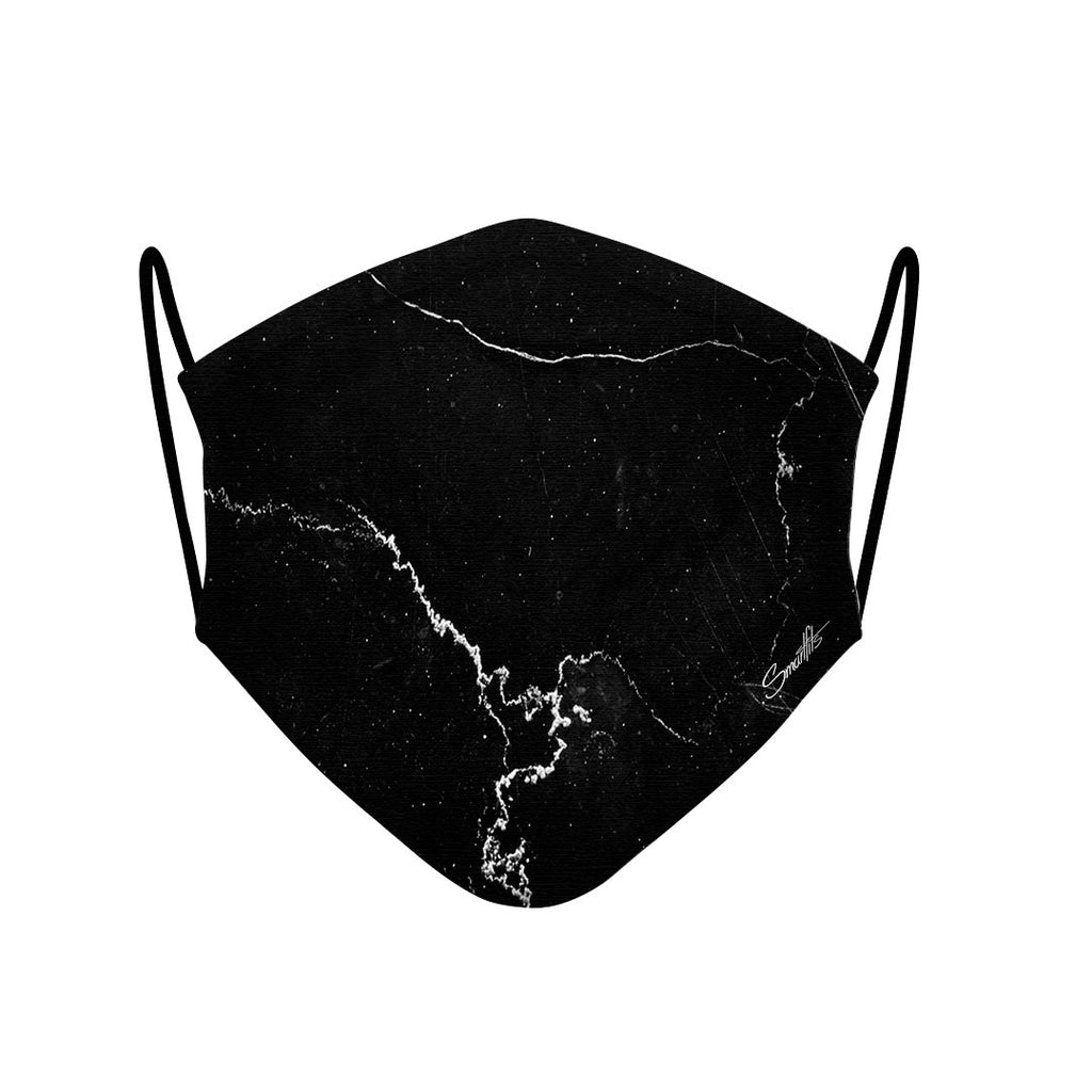 1 - Face Mask  black marble case, cover, bumper