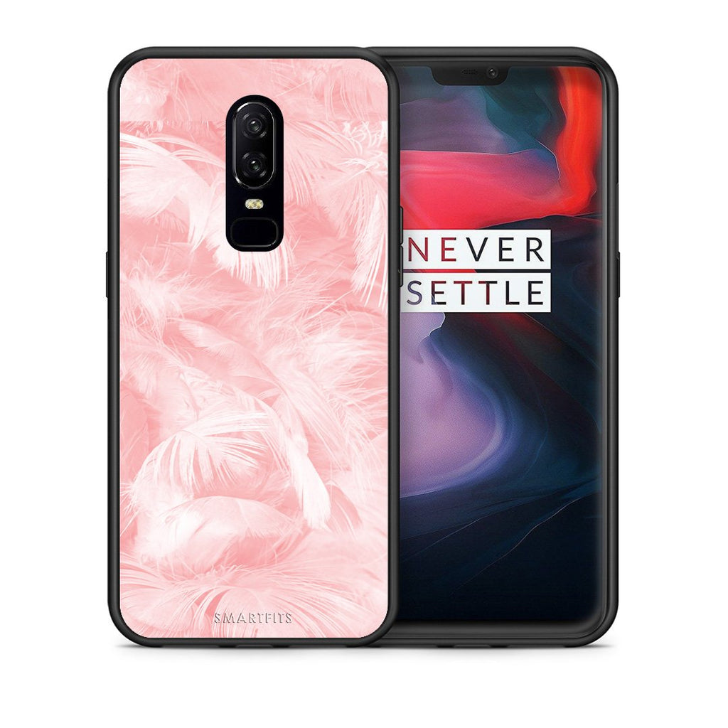 33 - OnePlus 6 Pink Feather Boho case, cover, bumper